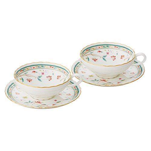 Bone china flower calico tea bowl dish pair set P58043A/4409 (japan ()