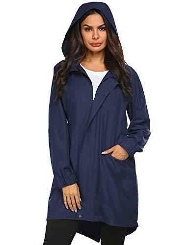 Doreyi Lightweight Rain Jacket Women Waterproof with Hood Outdoor Windbreaker Ladies Raincoat Hooded Jacket Navy Blue