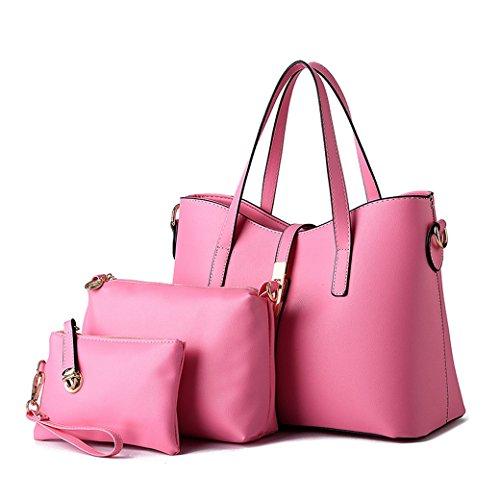 Femenil Bolsos de Moda PU Cuero Bolso de Mano + Bolso Bandolera + Bolso de 3 piezas Silver Rosa