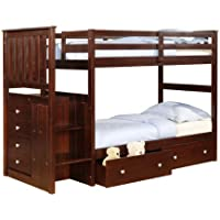 Donco Cappuccino Stairway Twin Mission Bunk Bed