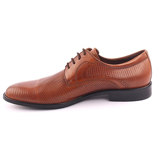 Unze Männer Carlino Leder Kleid geschnürt Spitz-Toe Prom Hochzeit Party Office Oxfords Schuhe UK Größe 7-11 - A007-11-2 Bräune