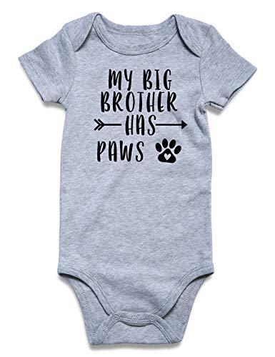 (Baby Girls' Onesie My Big Brother Has Paws Letter Footprint Short Sleeve Romper Bodysuits Unisex Newborn Infant Cotton Grey Jumpsuit)