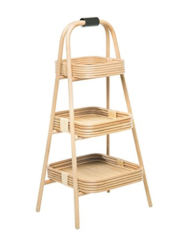 KOUBOO 1110081 Rattan Core Rack with 3 Trays, Natural by Kouboo