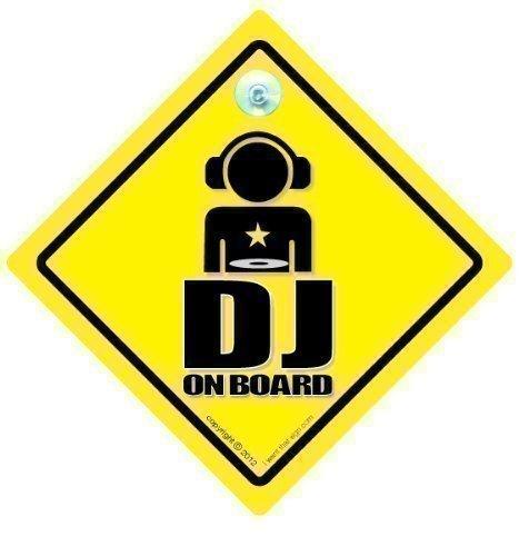 DJ On Board, panneau DJ, DJ, sur panneau, DJ, panneau de voiture, pare-chocs Disque Vinyle, Jockey, en vinyle, autocollant pour voiture, MC, Rap, Hip Hop, Funny signe de voiture, bébéà bord, panneau de voiture, Graphic, voiture Graphic