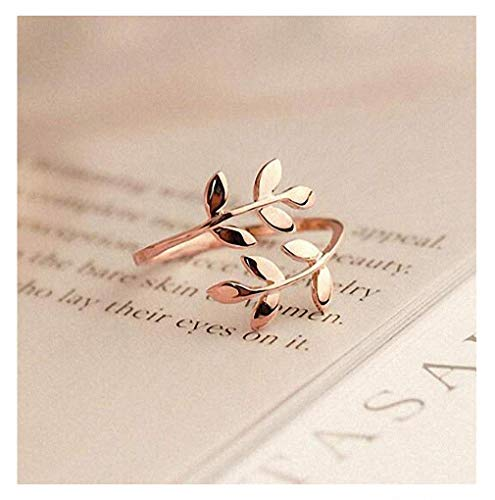 Giwotu Womens Mens Ring Charms Two Colors Olive Tree Branch Leaves Open Ring for Women Girl Wedding Rings Adjustable Knuckle Finger Jewelry Xmas Rose Gold Resizable