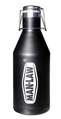Man Law BBQ Products MAN-OL1 2.0 Liter Growler-Stainless Steel, One Size, Black and White ()