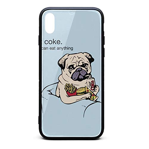 Fashion Phone Case for iPhone Xs MAX Diet-Coke Pug Life Rubber Frame Tempered Glass Covers Designer Anti-Scratch Skid-Proof Never Fade Cell Cases Pretty (Iphone 6 Diet Coke Case)