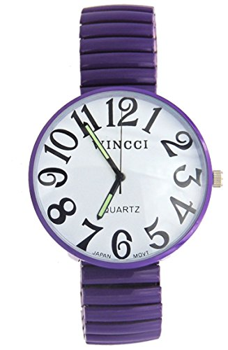 (Ladies Super Large Face Purple Stretch Band Easy to Read Watch)