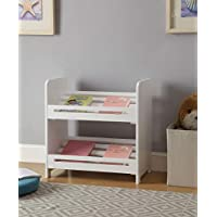 None Finish 2-Tier Storage Bookshelf (White)