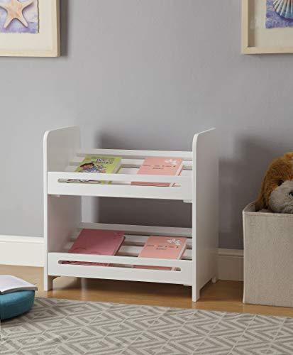 None White Finish 2-Tier Storage Shelf Bookshelf Bookcase Book Rack Kid's Bedroom from None