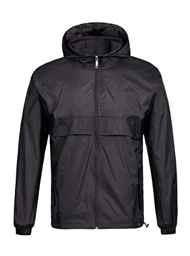 SWISSWELL Waterproof Windbreaker Rain Jacket Mens Lightweight Hooded Raincoat