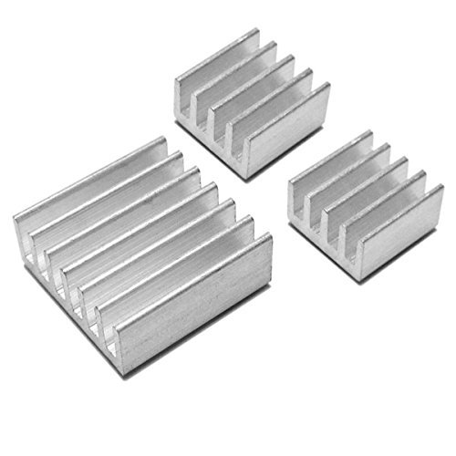 Self-Adhesive Aluminum CPU Heatsink CPU Cooler for Raspberry Pi 3,Pi 2,Pi Model B+ CPU Heat Sinks RAM Cooling Kit(Set of 3 Pcs)