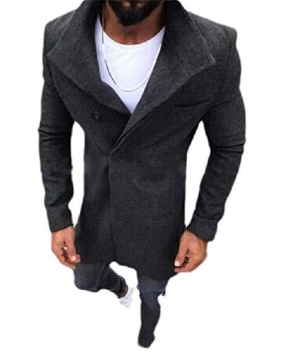 Wofupowga Men Long Sleeve Overcoat Stand Collar Woollens Jacket Mid Long Coats