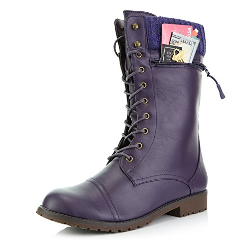 DailyShoes Women's Combat Style Lace up Ankle Bootie Round Toe Military Knit Credit Card Knife Money Wallet Pocket Boots, Purple Pu, 10 - Purple Tall Shoes