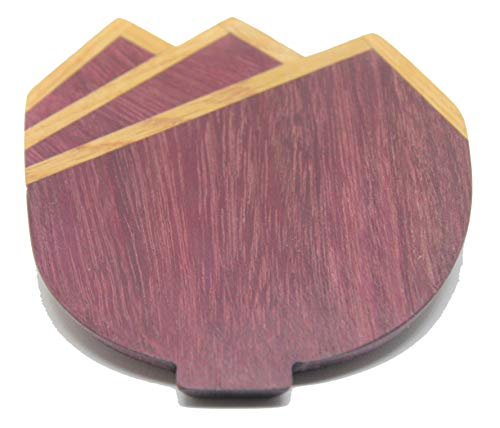 Solid Purple Heart and Oak Three Tier Pocket Square