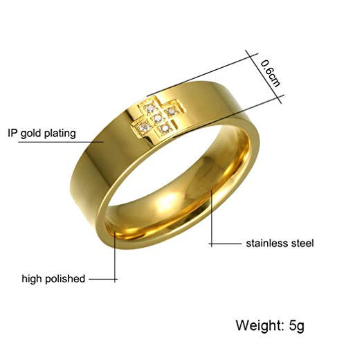 - Faithre Religious Gold Color Cross Ring Titanium Stainless Steel Gold 9