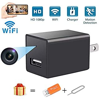 Spy Camera Wireless Hidden WiFi Camera with Remote View Portable Full HD 1080P Nanny Camera Indoor Home Security USB Charger Camera Nanny Cam with Motion Detection Support iOS/Android,No Audio