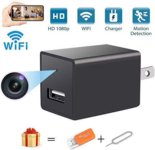 Mini WiFi Hidden Camera USB Charger Spy Camera Portable Full HD 1080P Wireless Small Indoor Home Security USB Charger Camera Nanny Cam with Motion Detection (Black)