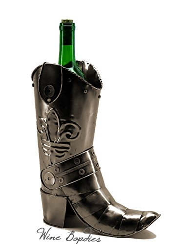 WINE BODIES ZB790 Cowboy Boot Metal Bottle Holder, Charcoal by Wine Bodies