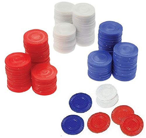 - Novelty Treasures 300 Red White and Blue Poker Card Game Chips