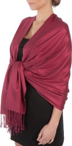 Burgandy Scarf - Sakkas Large Soft Silky Pashmina Shawl Wrap Scarf Stole in Solid Colors - Burgandy