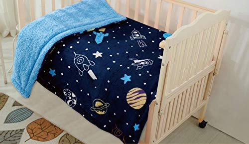 Luxury Home Collection Baby Blanket Toddler Sumptuously Soft Plush with Sherpa Backing Childrens Stroller Cover Warm Dark Blue Rockets Sun Planets Stars 40
