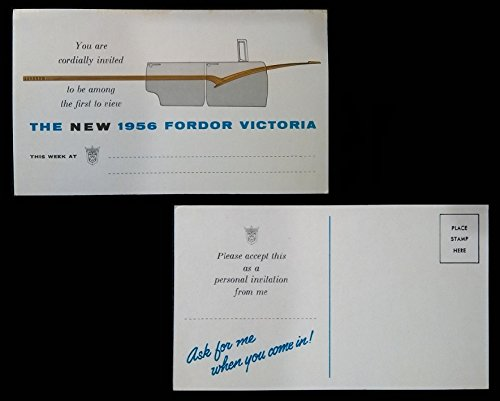 1956 FORD FORDOR VICTORIA VINTAGE FACTORY PART-COLOR POSTCARD/INVITATION - USA - WONDERFUL ORIGINAL POST CARD (1956 Wall Art)
