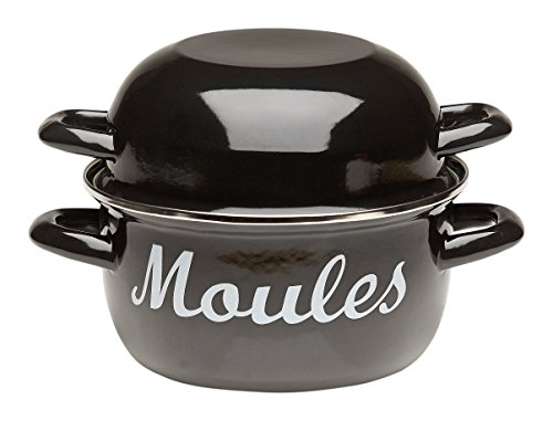 Enamel Mussel Pot with Lid for Shells - 7