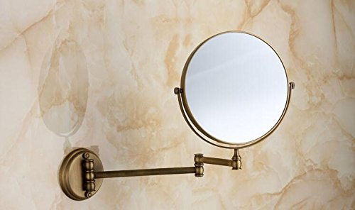 Allegro Huyer Wall Mount Makeup Mirror Bathroom Accessories Bath Mirrors Antique Bronze Wall Mounted Magnifier Bathroom Mirrors Bathroom Hardware-80290 ()