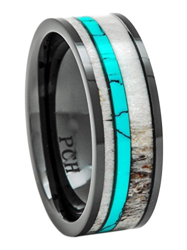 Deer Antler Ring Turquoise Black Ceramic 8mm Comfort Fit Wedding Band (9)