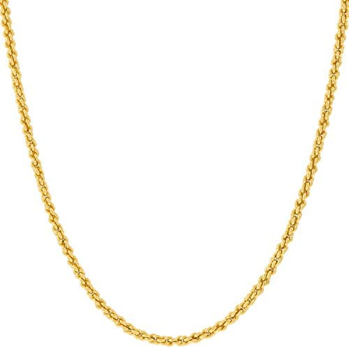 Lifetime Jewelry Gold Chain Necklace Jewelry for Women & Men [2mm Rope Chain] – Up to 20X More 24k Plating Than Other Pendant Necklaces Chains – Yellow or White Gold