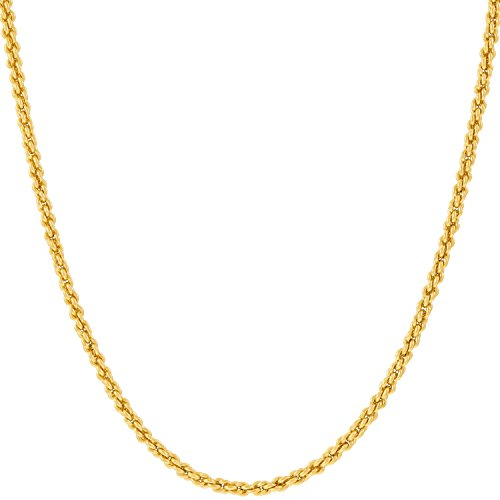 Lifetime Jewelry 1mm Rope Chain Necklace 24k Real Gold Plated for Women and Men with Free Lifetime Replacement Guarantee (Gold, 18)
