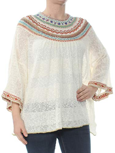 - Free People Womens Vacation Embroidered 3/4 Sleeves Pullover Sweater Ivory S