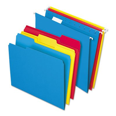 Pendaflex 16157 Combo Kit Hanging File Folders, 1/3 Tab, Letter, Assorted (Box of 12 Sets)