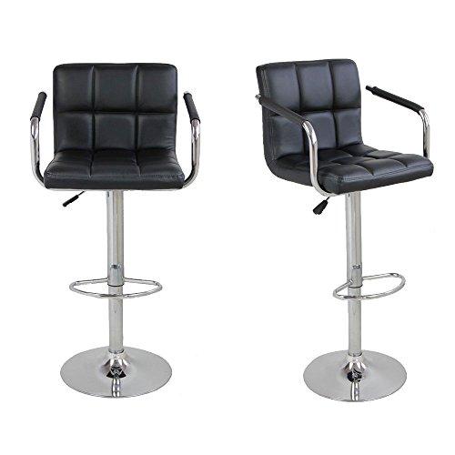 Z ZTDM 2pcs Leather Bar Stool with Arms 360 Swivel Chair Checks Soft Cushion Bar Lift Chair with Armrest Black