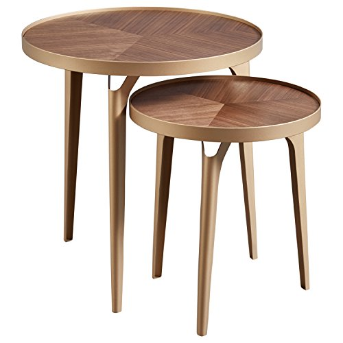 Rivet Mid-Century Nesting Metal Side Table, Set of 2, Brass and Walnut ()