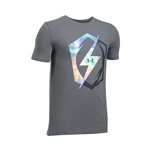 Under Armour Boys' Pride Of Football T-Shirt,Graphite/Iridescent Foil, Youth Large (Under Football T-shirt Armour)