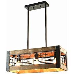 Baiwaiz Farmhouse Light Fixture, Metal and Wood Kitchen Island Lighting Rustic Rectangle Chandelier 3 Light Edison E26 065