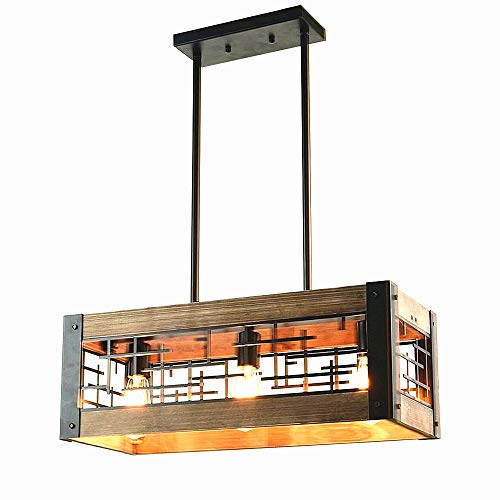 Baiwaiz Farmhouse Light Fixture, Metal and Wood Kitchen Island Lighting Rustic Rectangle Chandelier 3 Light Edison E26 065