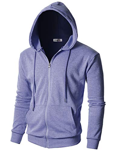 OHOO Mens Slim Fit Long Sleeve Lightweight One-Tone Zip-up Hoodie with Kanga Pocket/DCF102-LAVENDER-2XL