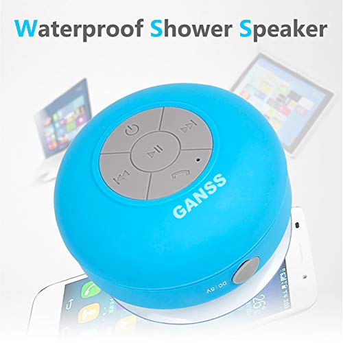 GANSS Waterproof Bluetooth Shower Speaker,Mini Wireless Portable Speakers with Suction Cup Handsfree, Up to 4-Hour Playtime, Built-in Microphone for Calls for iPhone, iPod, iPad, Samsung(Blue)
