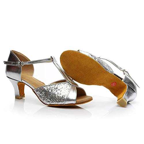 Latino Interior Plata Danza Sandalias Baile Cinturón Moderno Tacón Pelo A Zapatos Verano Imitación Hebilla Diamante Show Mujeres Beladla De Cruzado Salón Alto fHqwP