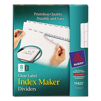 Index Maker White Dividers For Copiers, 8-Tab, Letter, Clear, 5 Sets/Pack, Sold as 5 (Avery Dennison Index Maker Copier)
