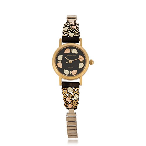 Landstroms Black Hills Gold Women's Powder Coated Watch with 12K Gold Leaves