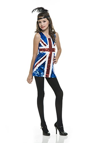 Charades British Sequin Girl's Costume Dress, X-Large