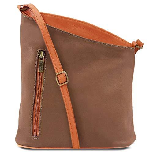 Leather En Tlbag Unisex Violeta Tuscany Marrón Con Bolsillo Topo Suave Oscuro Bandolera Piel xRfdwY