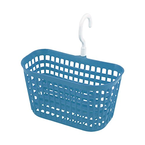 uxcell Plastic Kitchen Rectangular Lattice Storage Container Hanging Hook Basket Blue White