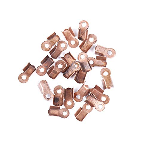 Laliva Accessories - 500pcs in Bulk Metal Fold Over Crimp Cord End Caps Findings 6mm 9mm for Jewelry Leather Cord Making - (Color: Antique Copper 9mm)