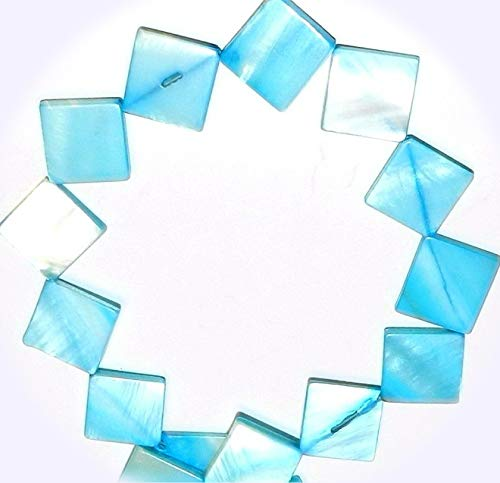 New Ocean Blue 16mm Flat Square Diamond Mother of Pearl Shell Jewelry-Making Beads 15-inch DIY Craft Supplies for Handmade Bracelet Necklace