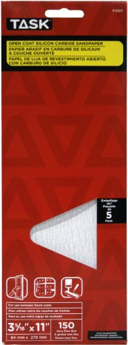 Task Tools T13317 3-5/16-Inch by 11-Inch Drywall Sandpaper, 150 Grit, 5-Pack by Task Tools